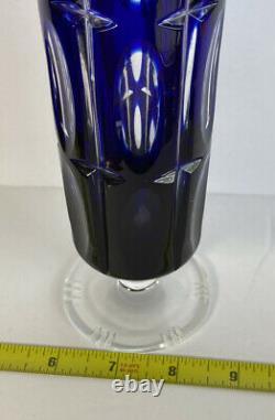 Cobalt Blue Sapphire Cut To Clear Crystal Pedestal Vase