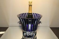 Cobalt Sapphire Blue Cut Clear Crystal Wine Champagne Bucket Vase Ajka Castille
