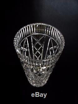 Collectible Waterford Crystal Ireland Cut Glass Tall Flower Vase Signed 8