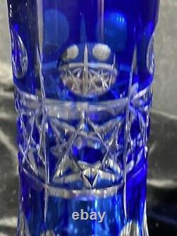 Cross Cut Bohemian Cobalt Blue Cut To Clear Crystal Czech Art Glass Vase 8.25