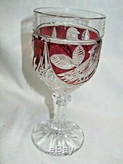 Crystal Cut Ruby Red Bleikristall Hofbauer Love Byrdes Fan Vase Wine Dish Bird