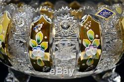 Crystal Glass Bowl Vase 10 Hand Cut & Gold Centerpiece Czech Bohemian Crystal