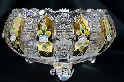 Crystal Glass Bowl Vase 9 Hand Cut & Gold Centerpiece Czech Bohemian Crystal