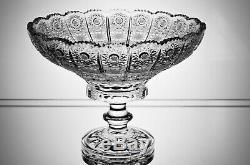 Crystal Glass Footed Bowl Vase 10 Hand Cut Centerpiece Czech Bohemian Crystal
