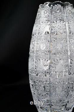 Crystal Glass Vase 10 Hand Cut Bohemia Czech Glass Decorative Flower Vase NEW