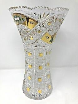Crystal Glass Vase 12 Centerpiece Flower Hand Cut Gold Plated Bohemia NEW