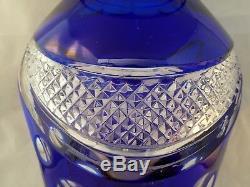 Cut To CLEAR Crystal Glass COBALT Blue 11H CENTERPIECE Vase Vintage
