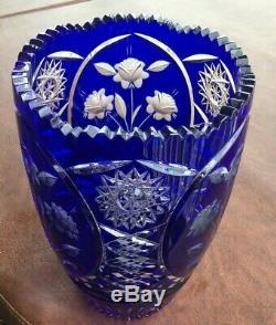 Cut To Clear COBALT Blue CUT GLASS Crystal Vase Floral Design
