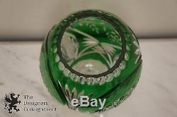 Cut to Clear Crystal Glass Signed Vase Green Bird Scene Bohemian Centerpiece 15