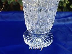 Czech Bohemia Hand Cut Queen Lace Crystal Pedestal Vase 8 Mint Nib