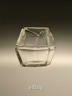 Czech Bohemian Art Deco Crystal Clear Cut Glass Vase Jardiniere Ludvika Smrckova