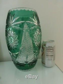 Czech Bohemian Bavarian Nachtmann Emerald Cut Starburst Crystal Glass 10 Vase