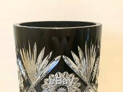 Czech Bohemian Large Black Cut to Clear Crystal Large Vase 12 Tall
