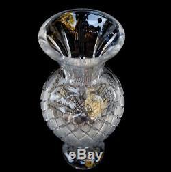 Czech Bohemian Large Hand-cut Heavy Crystal Vase 15 1/2 Tall