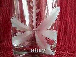 Czech Bohemian Mid-Century Modern Engraved Cut CRYSTAL VASE Thistle 9.8 inches