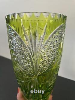 Czech Bohemian Olive Green Cut To Clear Crystal 10.5 Vase Diamond/daisy