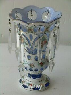 Czech Bohemian White Cased Vase Cut to Blue Crystal Prism Hand Painted 9 Tall
