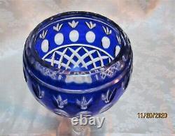 Czech Cobalt Blue Cut to Clear Crystal Long Stem Wine Candle Holder Votive Vase