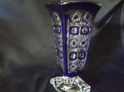 Czech bohemia crystal cut glass Blue Vase 29 cm hand cut