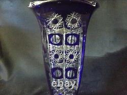 Czech bohemia crystal cut glass Blue Vase 33 cm hand cut