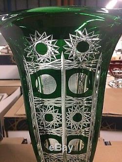 Czech bohemia crystal cut glass Green Vase 29 cm hand cut