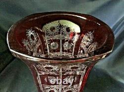 Czech bohemia crystal cut glass Red Vase 33 cm hand cut