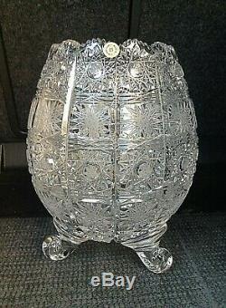 Czech bohemia crystal cut glass Vase 21cm on three legs