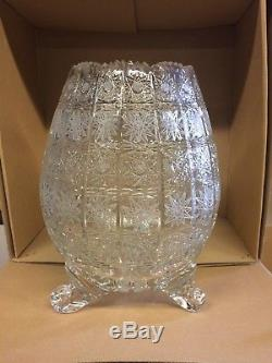 Czech bohemia crystal cut glass Vase 25cm on three legs