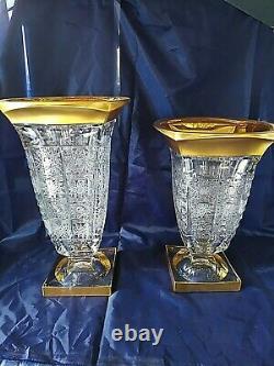 Czech bohemia crystal glass Cut crystal vase 33cm/ 13 decorated gold