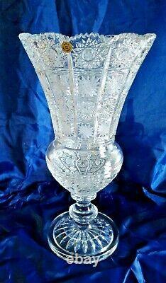 Czech bohemia crystal glass Cut crystal vase 41cm/14 hand made