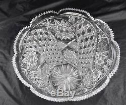 Deep Cut Clear Crystal 10 Signed Vase Star Hobnail Quilted Scallop Sawtooth Top