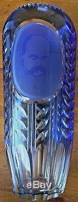 Deep Etching Diamond Cut Crystal Cameo Large Vase with Ukraine poet Shevchenko