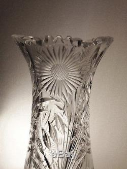 EMPIRE DAHLIA 12 American Brilliant Period Cut Crystal Vase 32 Petal Flowers