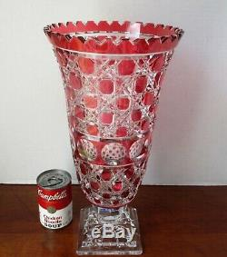 EX-Large IRENA Poland CRANBERRY RED Cut to Clear 24% Lead Crystal Vase 15 1/2