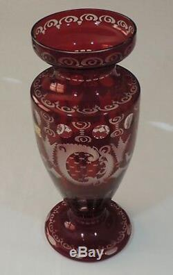 Egermann Czech Republic Bohemian Ruby Red Cut To Clear 12 1/8 Crystal Vase EUC