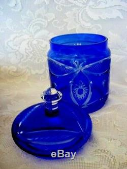 Elegant Cobalt Blue Blown Glass Cut-to-Clear Crystal Biscuit / Apothecary Jar