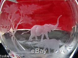 Elephant Cut Crystal Glass Vase by Queen Lace