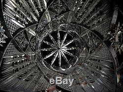 Estate Beautifu 10 Brilliant Deep All Over Cut Glass Crystal Vase Sawtooth Edg