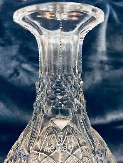 Estate Fresh ABP Antique Deep Cut Crystal Glass Wine Decanter Carafe Vase