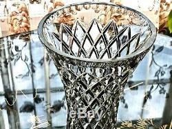 Excellent Vintage Hand Cut'diamond' Crystal Tall Vase Bohemia C 1960's