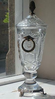Exquisite Large Antique Gilt Mounted Crystal Cut Vase with Two Ring Handles