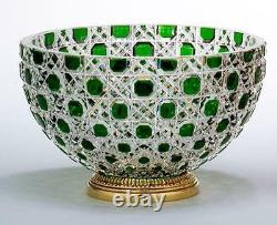 Exquisite Rare Beautiful Imporant Empire Green Hand Cut Crystal Style Vase Bowl