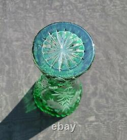 Exquisite! Vintage Green Cut-to-Clear 8-1/4 CRYSTAL VASE