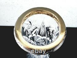 FABERGE Imperial Russian Lead Cut Crystal Bud Flower Vase 84 Silver Rim