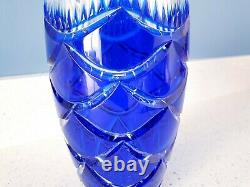 FABERGE Russian Cobalt Blue Pinecone Egg Lead Crystal Cut to Clear Vase SIGNED