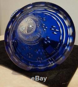 Faberge Cobalt Blue Cased Cut To Clear Crystal 91/2 Vase Signed Sticker