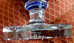 Faberge Empire Vase 12h Signed, Cobalt Blue Cased Cut To Clear Crystal
