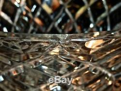 Fabulous Vintage Hand Cut Classic Diamond Pattern Large Crystal Trumpet Vase C