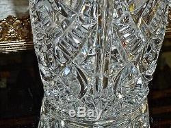 Fabulous Vintage Large Vintage Crystal Hand Cut Vase Bohemia C 1960's