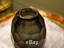 Faceted Facet Cut Glass Crystal Vase Paperweight David Wiseman Style Smoke